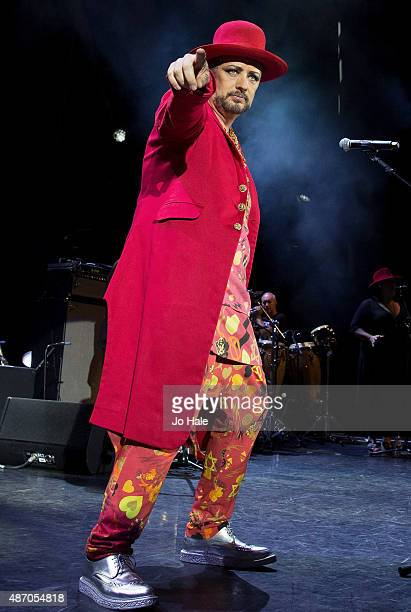 Boy George performs on stage with Culture Club at Eventim Apollo on September 5 2015 in London England