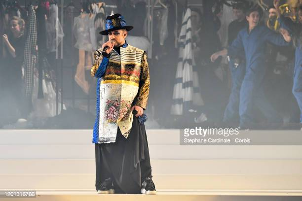 Boy George performs the runway during the Jean-Paul Gaultier Haute Couture Spring/Summer 2020 show as part of Paris Fashion Week at Theatre Du...