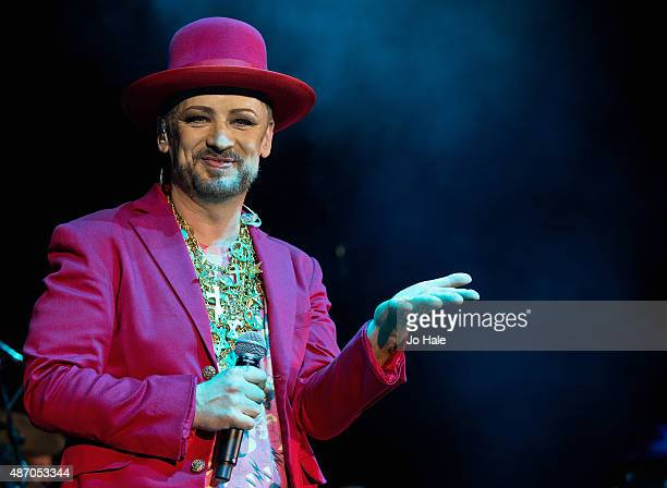 Boy George performs with Culture Club at the Eventim Apollo on September 5 2015 in London England