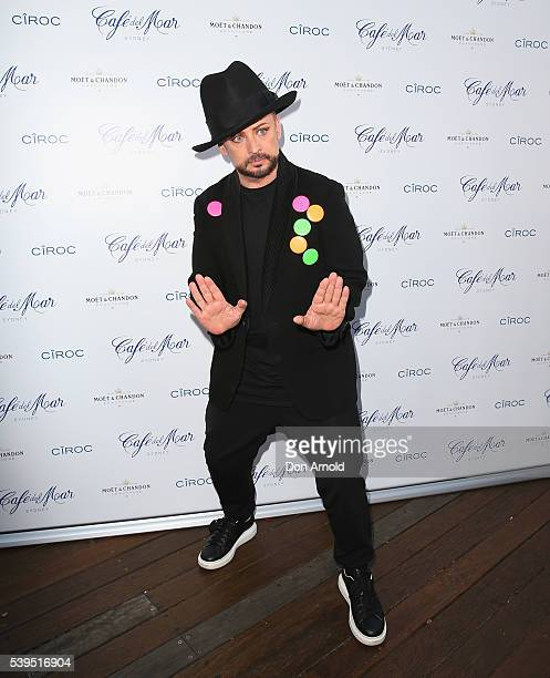 Boy George poses before he performs a DJ Set for Vivid Sydney at Cafe del Mar Darling Harbour on June 12 2016 in Sydney Australia