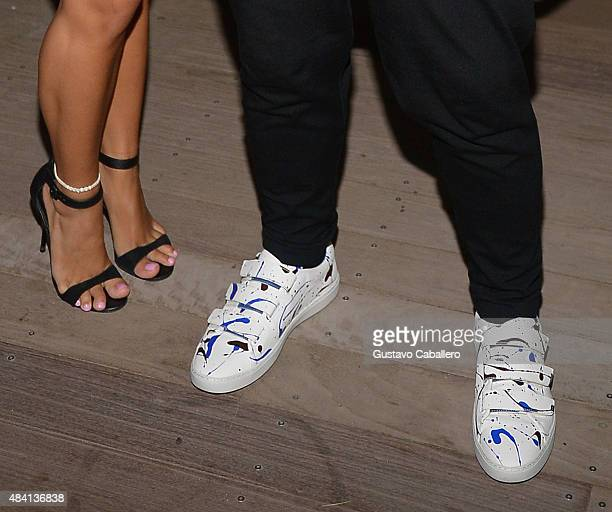 Boy George shoe detail as he arrives for DJ Set at Wall at W Hotel on August 14 2015 in Miami Beach Florida