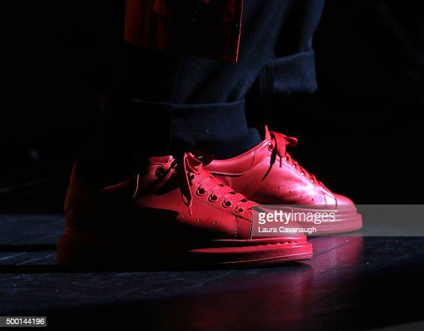Boy George shoe detail performs at the 5th Annual 'Cyndi Lauper And Friends Home For The Holidays' benefit concert at The Beacon Theatre on December...
