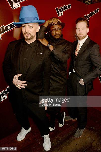 Boy George william and Ricky Wilson attend The Voice UK Open Mic Night at The Scotch of St James on March 23 2016 in London England