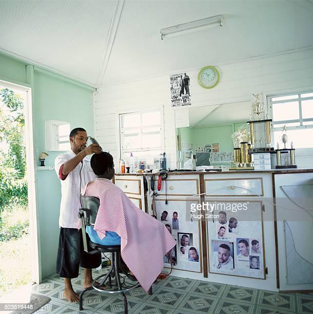 boy getting a haircut - hugh sitton bildbanksfoton och bilder