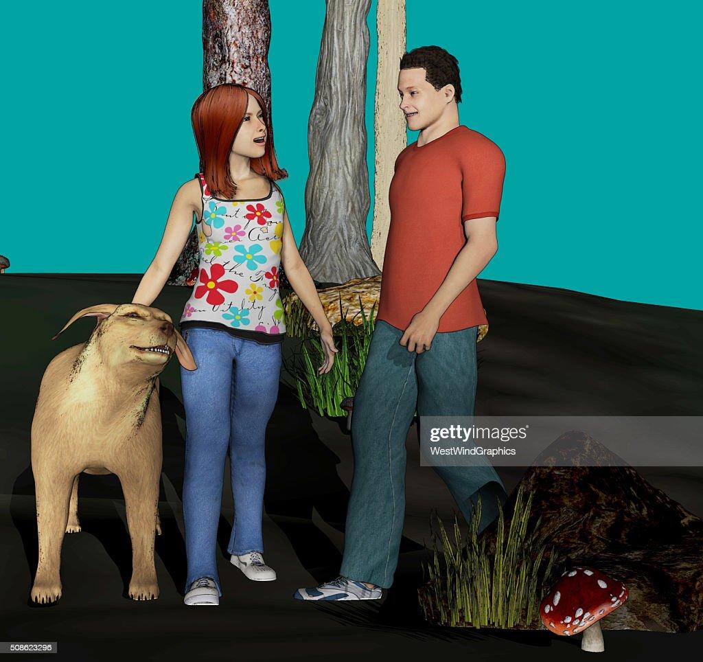 boy, girl and dog : Stock Photo
