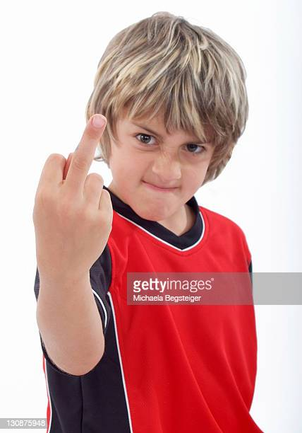 Boy gives the finger