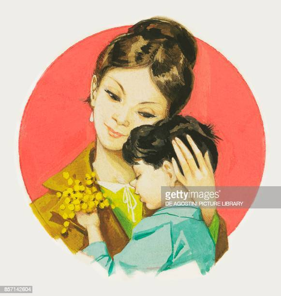 Boy giving his mother a bouquet of mimosa for Women's Day drawing