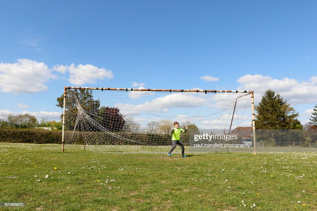 Boy goalkeeper : Stock Photo