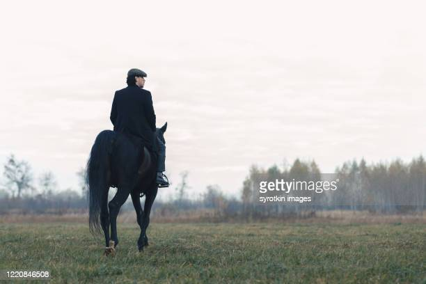 boy going back to  forest. - equitación fotografías e imágenes de stock