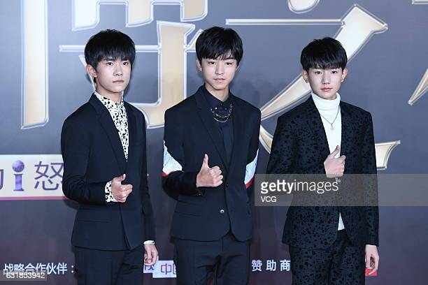 Boy group TFBoys arrive at red carpet of 2016 Weibo Awards Ceremony on January 16 2017 in Beijing China