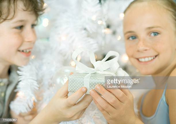 boy handing sister gift in front of christmas tree - little girl giving head stock photos and pictures