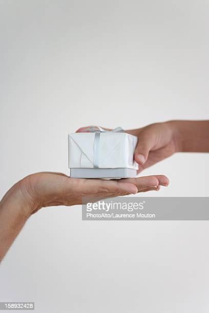 Boy handing woman present, cropped