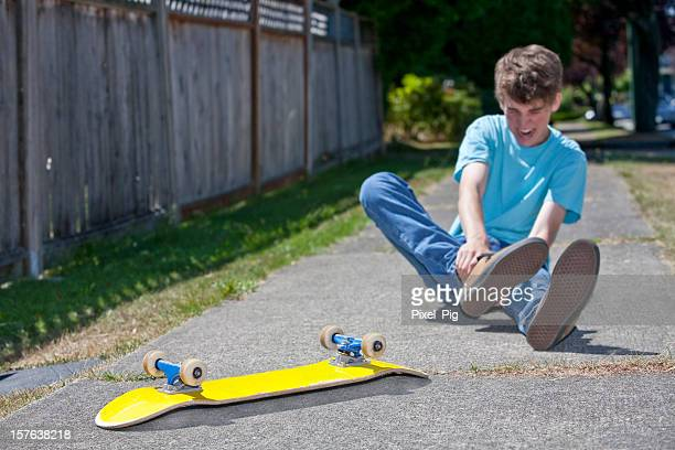 Boy has accident on Skateboard