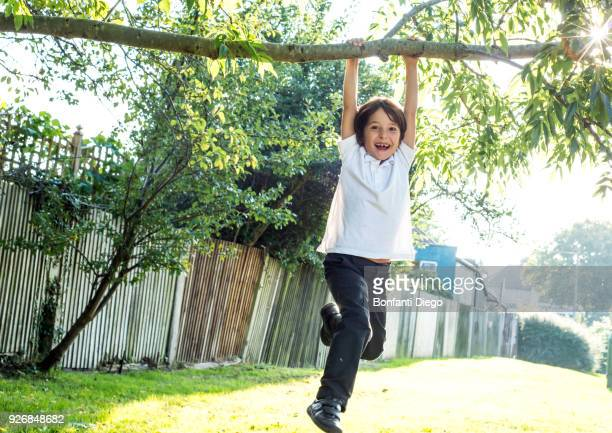 boy having fun swinging on tree branch - hanging stock pictures, royalty-free photos & images