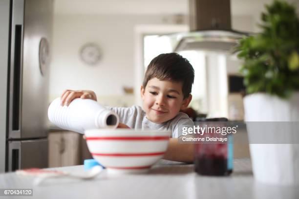 A boy having his breakfast