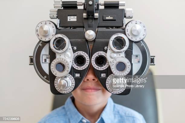 Boy having his eyes tested