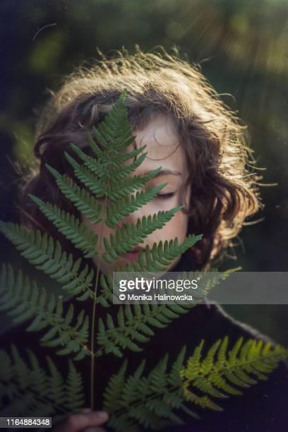 boy holding a fern - zerbrechlichkeit stock-fotos und bilder
