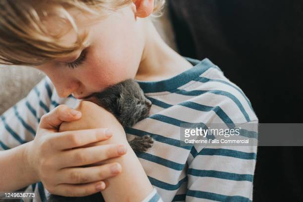 boy holding a tiny newborn kitten - small stock pictures, royalty-free photos & images