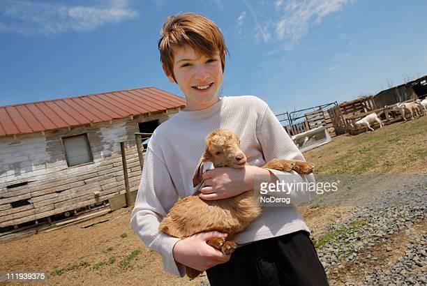 Junge holding baby-Ziege auf dem Bauernhof