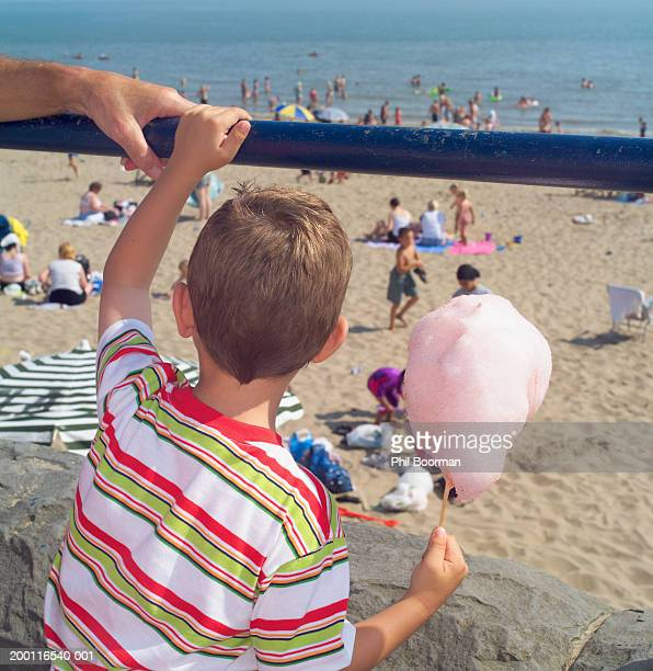Boy (4-6) holding candyfloss, looking out across beach, rear view