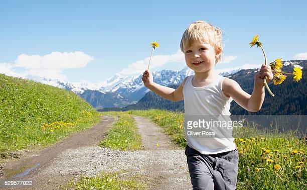 Boy holding dandelions
