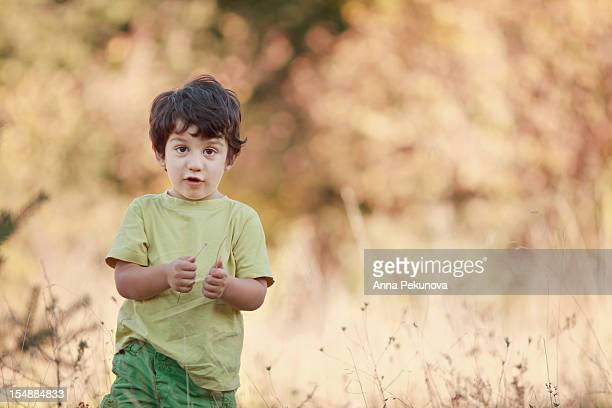 Boy holding dry grass in his hands