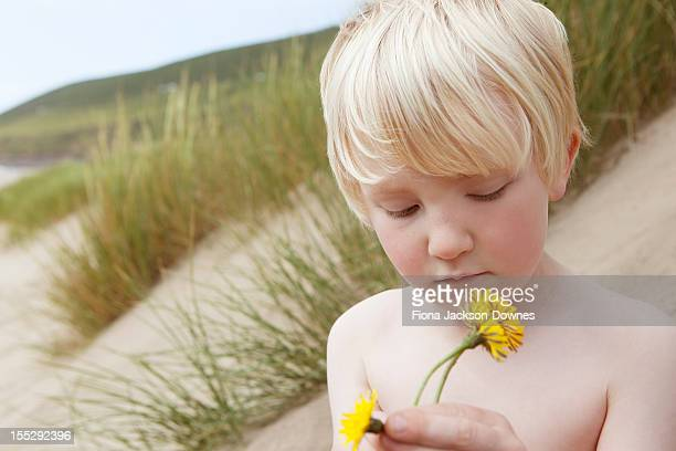 Boy holding flowers on sand dune