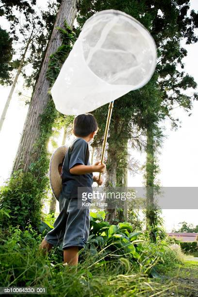 Boy (6-7) holding net in forest