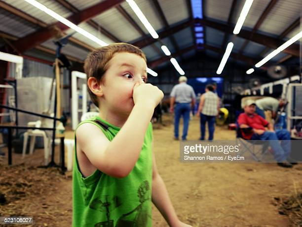 boy holding nose at workshop - ugly boys photos stock photos and pictures
