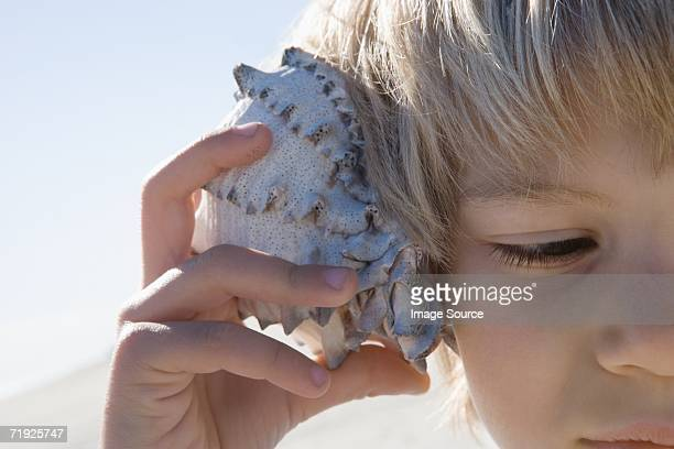 boy holding shell to ear - conch shell stock pictures, royalty-free photos & images