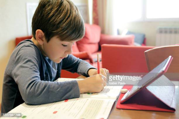 boy homeschooling - homeschool stock pictures, royalty-free photos & images