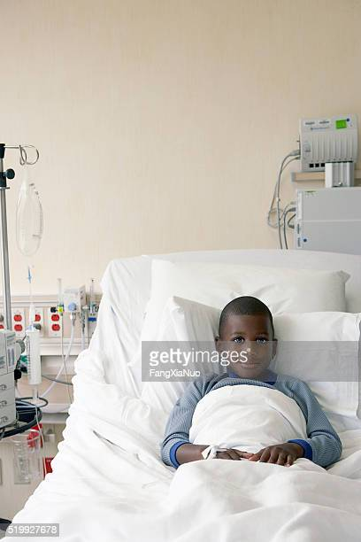 Boy in a hospital bed