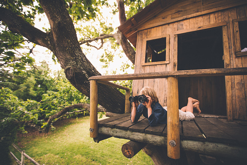 Boy in a treehouse looking in the distance with binoculars - gettyimageskorea
