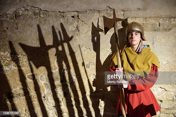 boy in armour with weapon, bolton castle, a 14th century grade 1 listed building and scheduled ancient monument - period costume stock pictures, royalty-free photos & images