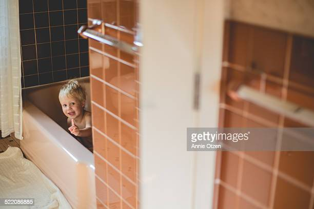 Boy in bath tub