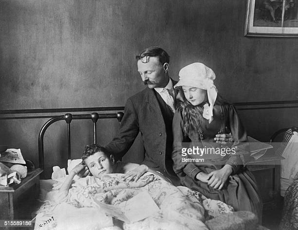 Boy in bed in General Hospital Queenstown is Frank Hook he jumped from 2nd deck of the Lusitania but a boat came down on top of him and broke his arm...