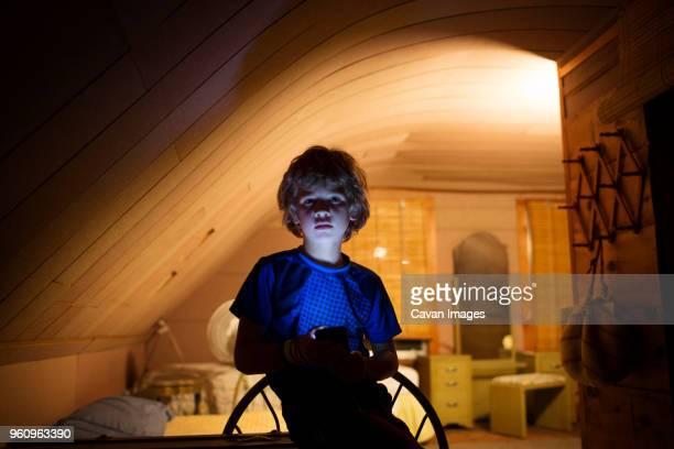 Boy in bedroom