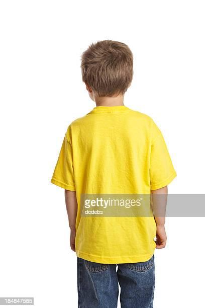 petit garçon en chemise blanche vue arrière - fesse enfant photos et images de collection