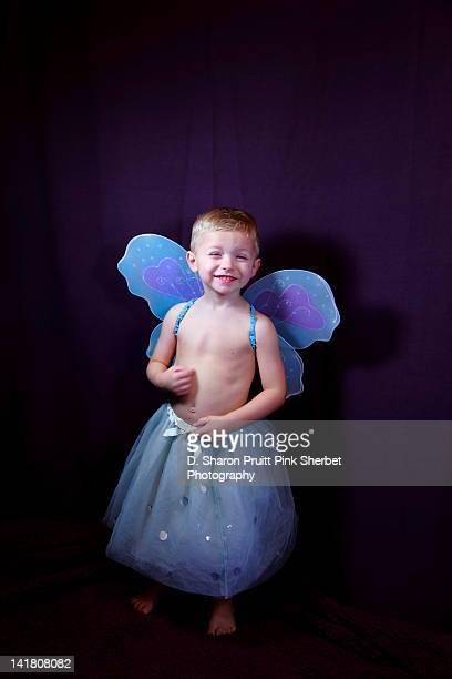 Boy in blue fairy costume