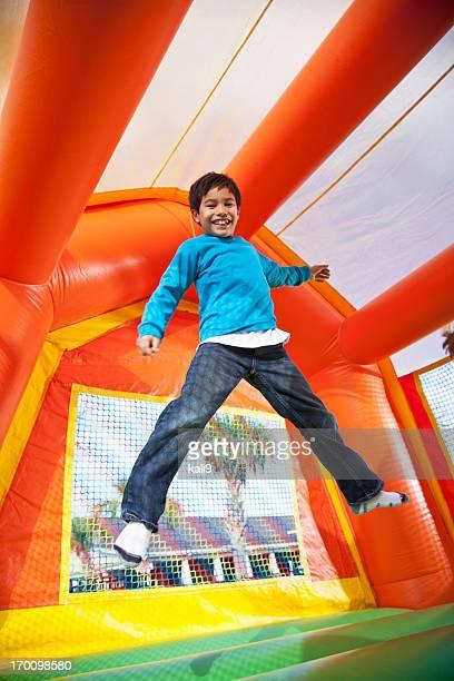 Boy in bounce house