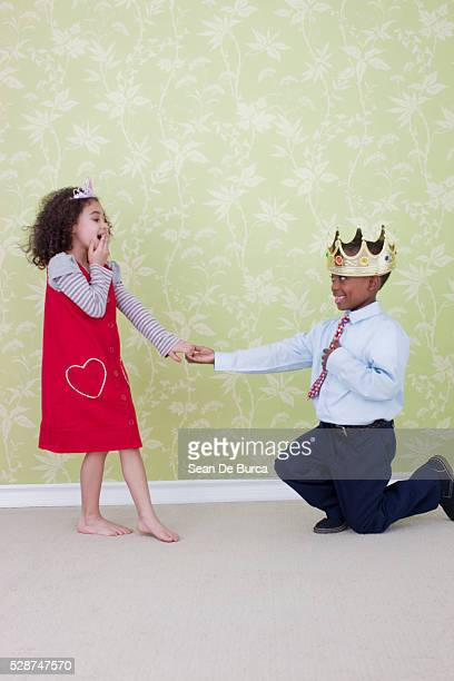 Boy in Crown Proposing to Girl
