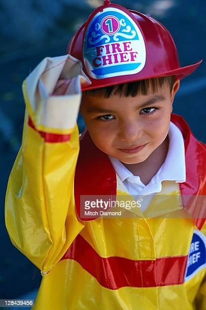boy in fire fighter costume