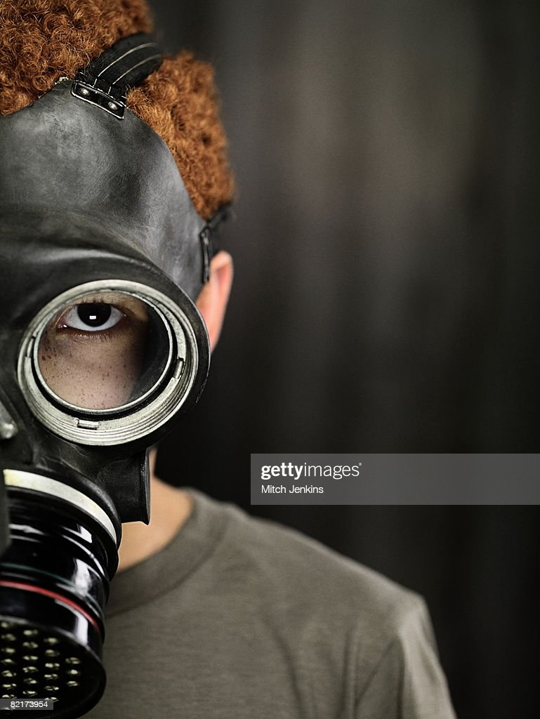 Boy in Gas Mask : Stock Photo