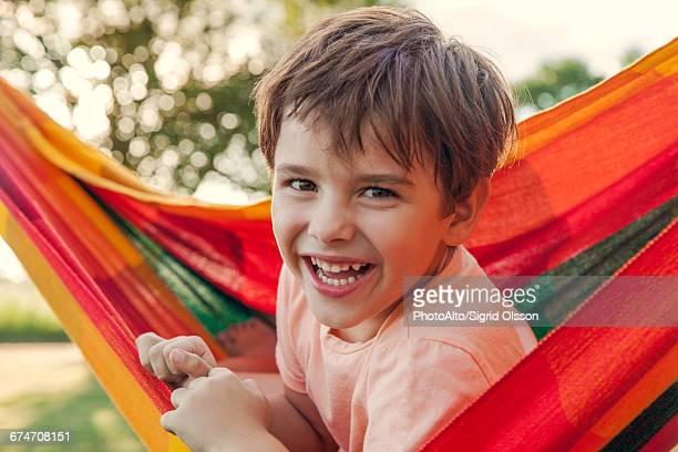Boy in hammock, portrait