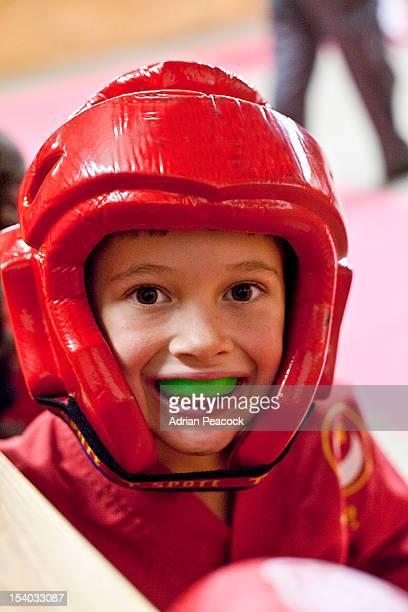 Boy in Karate headgear