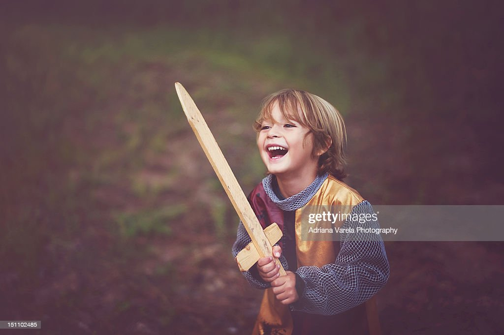 Boy in knight costume : Stock Photo