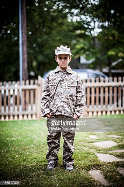 Boy (8yrs) in military outfit