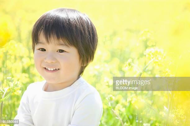 Boy in oilseed rape field, portrait