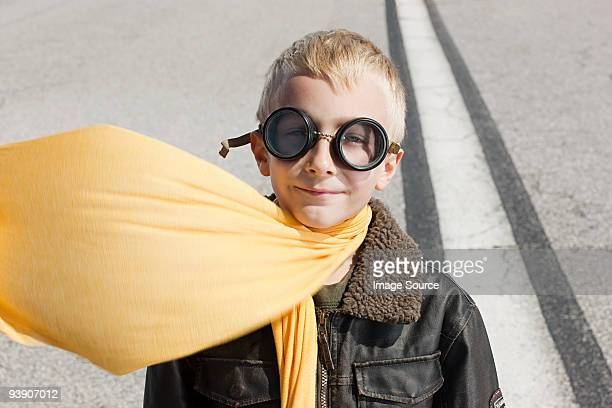 boy in pilot costume - flying goggles stock pictures, royalty-free photos & images