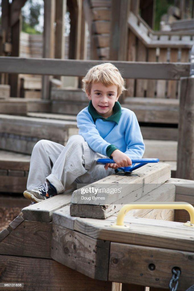 Boy in playground : Stock-Foto